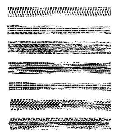Tire prints, car tires track isolated grunge vector marks. Automobile or motorbike race, vehicle, transportation dirty wheels trace. Abstract monochrome pattern, graphic grungy texture elements set