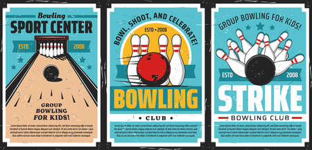 Bowling club posters, ball and pin strike sport tournament game center, vector. Bowling sport recreation and kids leisure activity, alleys and lanes rental, balls and skittle pins in strike