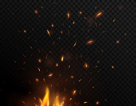 Fire sparks flying up, vector bonfire burning glowing yellow and orange particles. Firestorm, balefire realistic 3d flame of fire with sparks flying in air isolated on black and transparent background