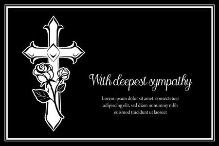 Funeral card vector template with cross and and rose flowers. Vintage condolence funeral card with deepest sympathy typography. Obituary memorial, remembrance retro funeral monochrome poster design