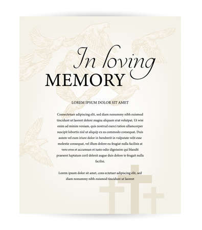 Funeral card vector template, vintage condolence obituary with typography in loving memory, cemetery christian crosses and flying doves above graveyard. Obituary memorial, funeral card, necrologue Ilustración de vector