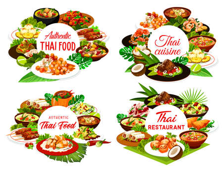 Thai food restaurant vector round banners. Thailand cuisine meals. Sweet rice with mango, curry, fish in coconut sauce, cashew chicken, pork satay and baked pepper, noodles, miso soup and shrimp broth Illusztráció