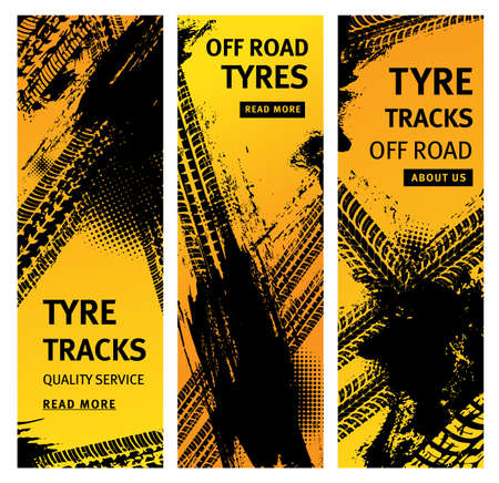Tire prints, car offroad tire tracks with grunge vector marks. Bike race, vehicle, transportation, automobile or motorbike off road print quality service banners with dirty wheels trace pattern set Vettoriali