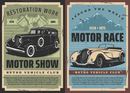Retro cars rally and vintage motors races, old vehicles restoration and repair works, vector grunge posters. Rarity muscle sport cars rally tournament, classic cars engine mechanic garage station