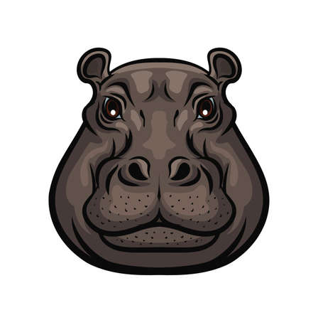 Hippopotamus animal wild muzzle head, vector isolated symbol. Hunter club icon or hunting sport and hunt safari adventure, wild African hippo, zoo and zoological park sign