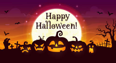 Happy Halloween vector banner. Scary pumpkin jack lanterns on night cemetery with zombie hand, creepy trees and cross tombs, on night graveyard background with bats. Cartoon Halloween greeting card