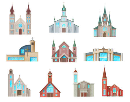 Catholic church buildings vector icons. Isolated cathedral, chapels and monastery facades. Medieval and modern churches design, christian evangelic religious cartoon architecture exterior symbols set