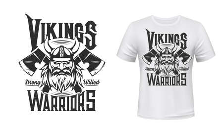 Viking warrior tshirt print, Scandinavian vector nordic medieval knight. Man with beard and horned helmet with crossed axes on white appaprel mockup. Nordic viking warrior sign, vintage symbol of Odin
