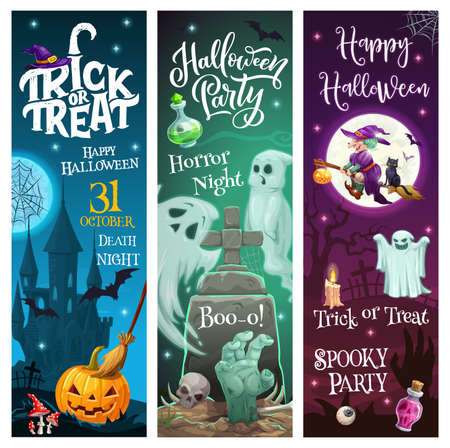 Halloween holiday trick or treat horror party monsters and ghosts vector banners. Happy Halloween greeting, witch with black cat flying on broomstick, zombie hand in grave and scary pumpkin lantern