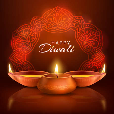 Diwali indian festival of lights vector poster. Burning oil lamps and traditional Hindu mandala on red background. Deepavali holiday, Happy Diwali greeting card design with realistic 3d lit candles Vektorové ilustrace