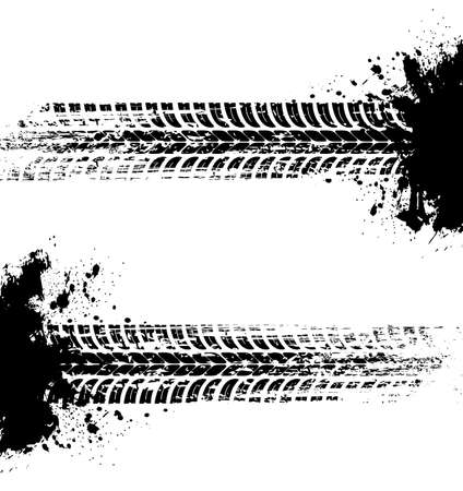 Tire prints, car tire tracks isolated grunge vector marks. Offroad auto or bike race, vehicle wheels trace with abstract dirty spots. Monochrome brush stroke pattern, graphic texture, design elements