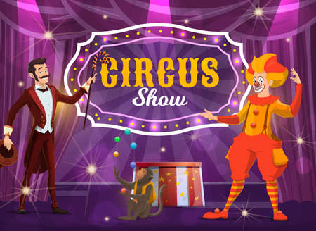Circus performers on big top tent arena vector poster. Cartoon clown and illusionist with trained monkey juggling balls. Big top circus jester, magician man with hat and stick, magic show performance