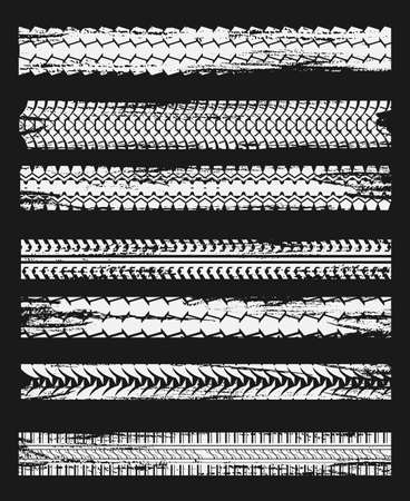 Tire prints, tires track isolated grunge vector car treads black marks. Rally, motocross bike protectors, vehicle, transportation dirty wheels trace. Abstract monochrome pattern, graphic texture set