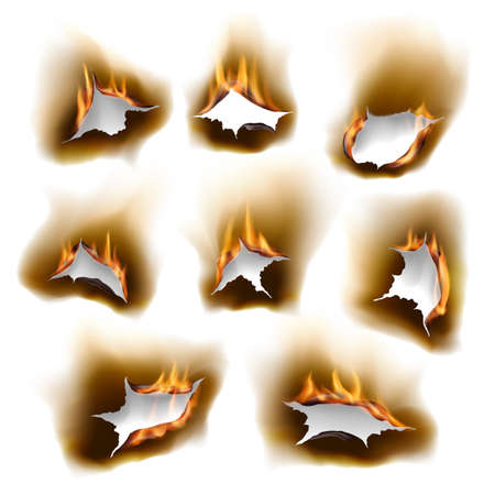 Burnt paper holes in fire, realistic burn orifice with charred edges isolated vector objects, 3d flame on white sheet. Burned paper page with abstract holes in flames, torn borders, ripped frames set