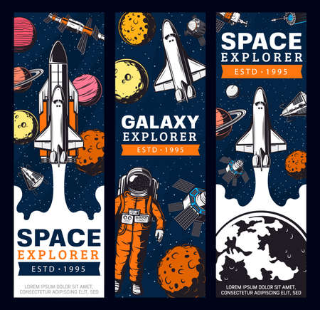Space exploration retro vector banners. Galaxy expedition adventure vintage cards with astronaut, shuttle space explorer, satellites and planets in outer space. Cosmos research, colonization mission