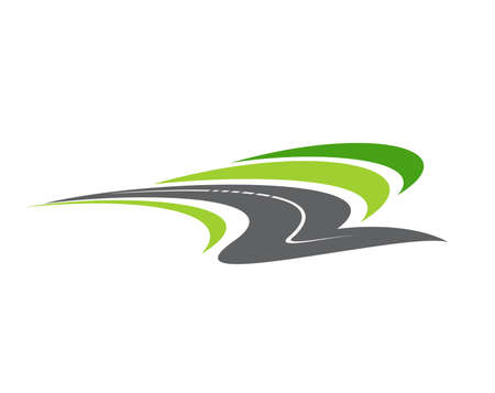 Highway road, pathway isolated vector icon. City highway curve road disappearing into the distance, travel or transportation service emblem design. Driveway cartoon symbol, traffic sign, direction
