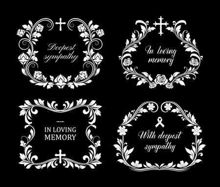 Funeral vector frames, isolated borders of floral design with blossoms and leaves. Mourning white flowers, flourishes, ribbon condolence typography. Obituary mournful funereal monochrome framing set