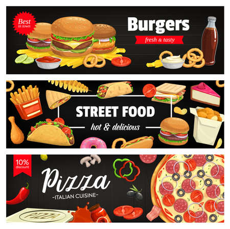 Fast food vector banners cheeseburger, hamburger and french fries with sandwich. Nuggets, tornado potato and tacos. Cola, pizza with sausages, tomato and olives, onion rings. Cartoon street food meals