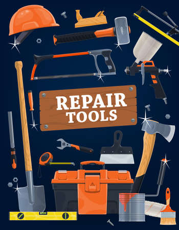 House repair hand tools vector set. Toolbox, paint brush, roller and sprayer, spatula, ax and spade, hacksaw, sledgehammer and tile cutter, jack plane, screwdriver, measuring tale and bubble level