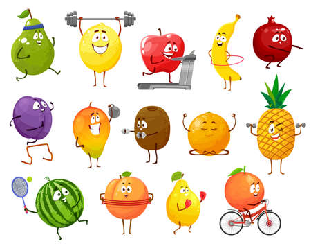 Cartoon fruits sportsmen, vector pear, lemon and apple, banana, pomegranate and prune with mango. Kiwi, grapefruit and orange, pineapple, watermelon and quince isolated characters sports workout set Ilustração Vetorial