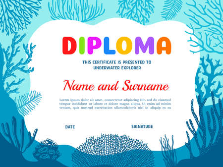 Diploma for underwater explorer with seaweeds vector template. Diving club certificate with under water alga. Scuba diving border design, education diploma for participation, achievement or graduation