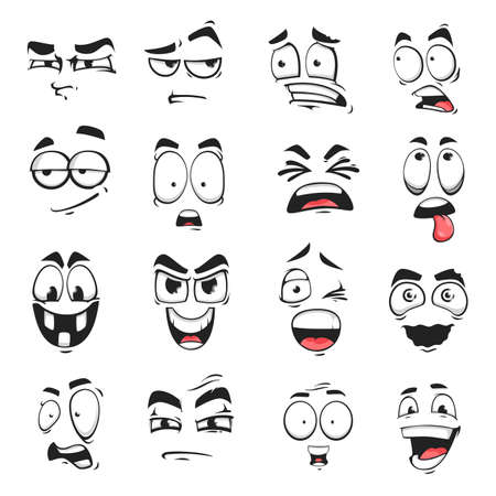 Face expression isolated vector icons, cartoon funny emoji suspicious, scared and shocked, grin, smirk or crazy. Facial feelings smile, laughing and yelling, surprised, squint and upset emoticons set Ilustración de vector