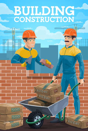 Building construction workers. Mason or bricklayer laying bricks with trowel, builder characters laying house wall, worker on construction site carrying sacks with cement on wheelbarrow vector 矢量图像
