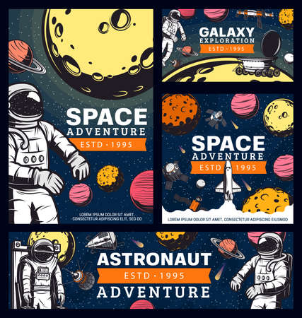 Astronaut space adventure, cosmonaut in outer space retro vector banners. Spaceman galaxy explorer in spacesuit fly in starry sky with planets, satellite and shuttle. Universe exploration