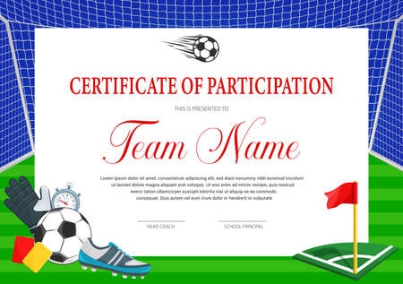 Certificate for soccer tournament participation. Football club diploma vector template. Sports award border design with ball, shoe, glove and gate with flag, yellow and red cards. Sport achievement