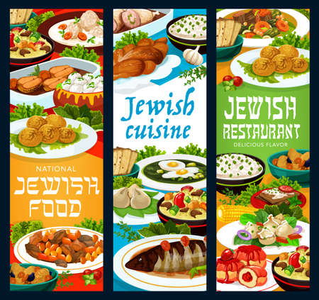 Jewish food restaurant vector banners with falafel, forshmak and lamb cholent, gefilte fish meatballs, sorrel cold soup and sufganiyot donuts, kreplach meat dumplings, crepes and stuffed chicken