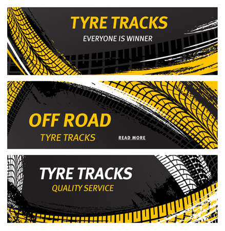 Tire tracks, off road tire prints vector car grunge tread abstract marks. Rally, motocross bike protectors, vehicle, transportation dirty wheels trace, protector skid. Quality auto service banners set