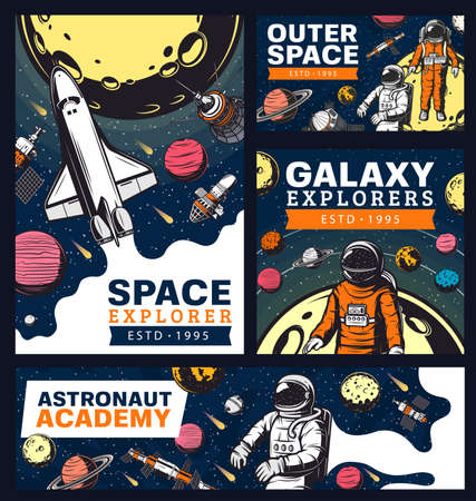 Astronaut academy, space and galaxy exploration with shuttles retro banners. Vector galaxy expedition, explore alien planet, satellites in outer space. Cosmos explorer, colonization mission, adventure