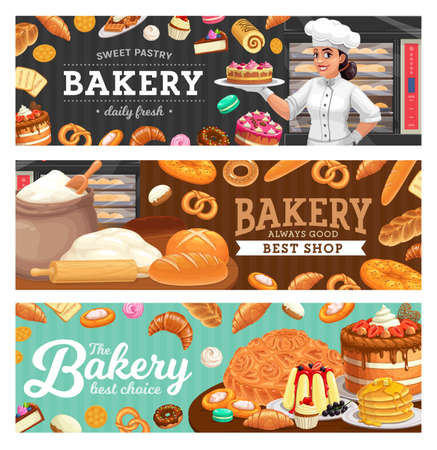 Bakery shop food and baker in toque carton vector. Woman in chef toque, female baker holding cake on plate, sweet pastry and bread, wheat flour and dough, rolling pin, stove. Confectionery banners