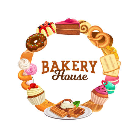 Sweets and desserts vector round frame. Bakery shop pastry cartoon banner with cake, cheesecake, sweet pudding and pies. Baked waffles and cupcakes patisserie bakery shop production, bake food store