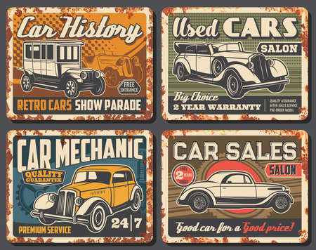 Rare vintage cars and retro vehicles rusty metal plates. Antique automobile, classic convertible sedan and coupe. Cars history museum parade, used vehicles salon and repair service mechanic banners