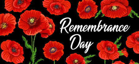 Remembrance day poppy flowers, Anzac day national memorial, vector poster. 15 April and 11 November British Commonwealth, Australia and New Zealand remembrance memorial tribute to war army soldiers