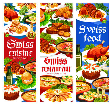 Swiss food cuisine restaurant menu vector banners. Gingerbread leckerli, chicken in dough, duck with orange, bread and carrot cakes. Swiss pearl barley soup, veal roll dishes, meat and pastry desserts