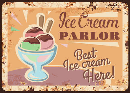 Ice cream in metal cup vector rusty metal plate, fruit sundae pink and green scoop balls with chocolate sauce stand on table in parlor vintage rust tin sign. Icecream dessert ferruginous retro poster