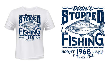 Lake fishing hobby t-shirt vector print with bream. Common bream and fishing hook, river or lake fish engraved illustration and grungy typography. Angler or fisher clothing custom design print Ilustração
