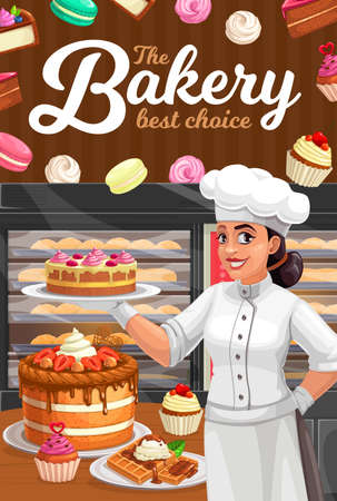 Confectioner in patisserie presenting vector desserts, cakes and bakery. Confectionery, baker shop with pastry baking in oven. Bake fresh sweet cupcake, macaroon and meringues, waffles or pies poster