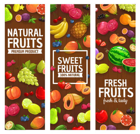 Natural farm fruits and berries banners. Grape, lemon and pomegranate, feijoa, papaya and watermelon, pineapple, grapefruit and strawberry, cherry, bilberry and raspberry vector. Fruits market poster