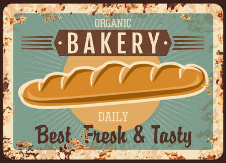Bakery bread, metal rusty plate with baguette or bagel price, vector vintage poster. Bakery shop menu for baked French baguette or bagel loaf bread, price sign with rust  イラスト・ベクター素材