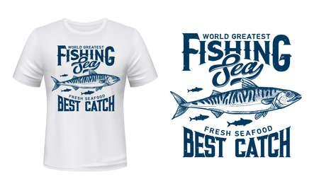 Mackerel fish t-shirt vector print mockup. Atlantic mackerel, tropical sea saltwater fishes shoal engraved illustration and typography. Fresh seafood, fisherman apparel print design template