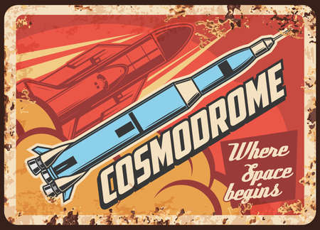 Outer space exploration vector rusty metal plate. Rockets carry shuttle on board take off cosmodrome. Vintage rust tin sign of galaxy and universe explore. Spaceship flying out of Earth retro poster