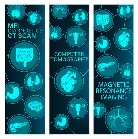 Magnetic resonance imaging, computed tomography medicine banners. Human body internal organs MRI and CT scan images, intestine, stomach and brain, heart, lungs and pancreas, uterus, testicles vector Ilustracja