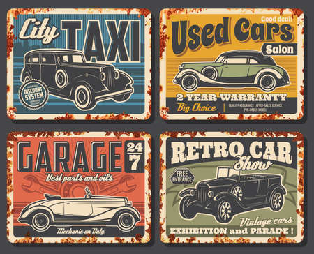Vintage cars rusty plates. Retro limousine, classic convertible coupe and cabriolet sedan. Taxi, repair service garage station, used cars dealer salon, retro automobile show, exhibition vector banner