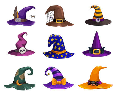 Witch hats vector icons, cartoon wizard headwear, traditional magician caps decorated with spider web, furthers, stripes or stars for sorceress or astrologer. Halloween party costume hats isolated set