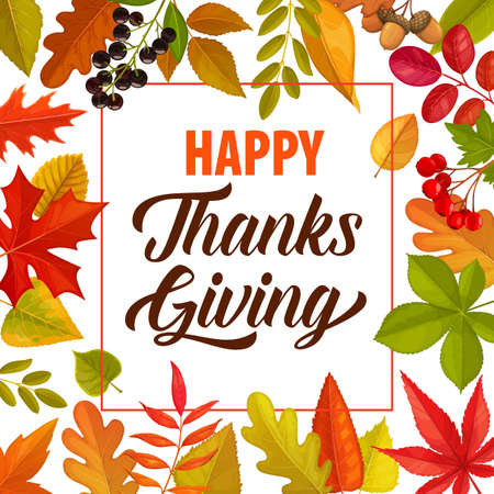 Happy Thanks Giving vector frame with lettering and fallen autumn leaves or berries. Thanksgiving day border, fall poster or greeting card with foliage of maple, oak, birch or rowan, acorn, chokeberry