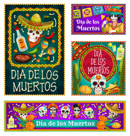 Dia de los Muertos skulls and Catrina with sombreros and marigold flowers vector design. Mexican Day of the Dead sugar skulls, maracas and tequila, skeleton bones, flags, sweet bread and cactuses
