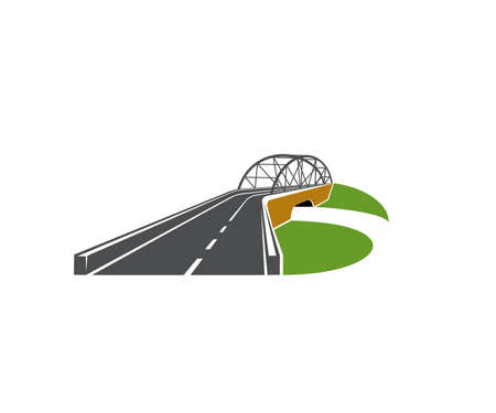 Speedway road with bridge overpass icon. Modern driveway, highway or freeway with level junction and arch bridge vector. Transportation emblem and road touristic trip design element